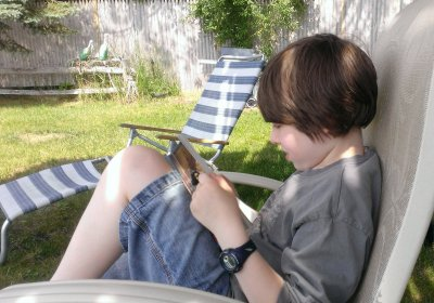 A boy and his book...